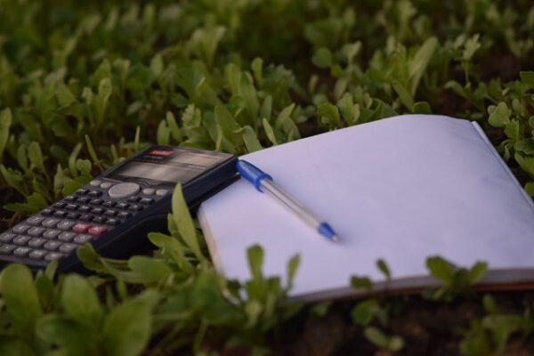 Kalkulator z notatnikiem i długopisem w trawie